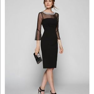 Alex Evenings Mesh Bell Sleeve Crepe Sheath Dress